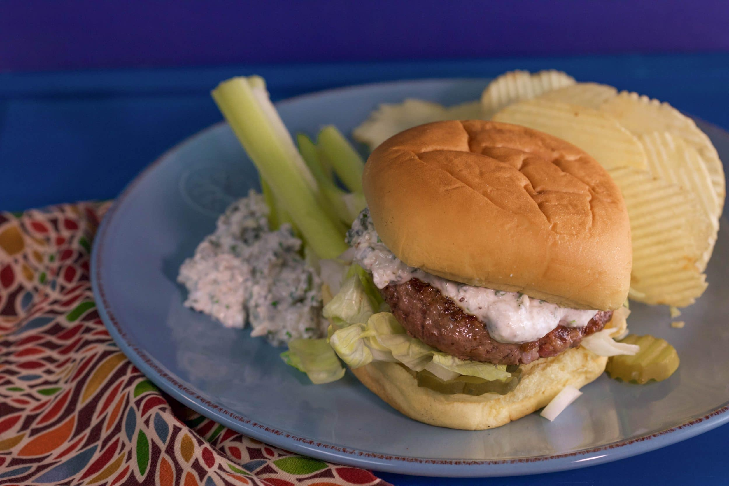 2-to-1 Beef-Bacon Burgers with Blue Cheese and Horseradish Sauce