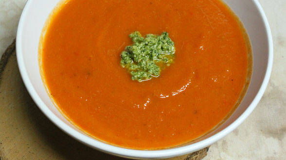 8-Vegetable Soup with Mixed Herb Pesto