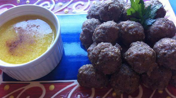 """Moneyballs"" – Turkey Pesto Meatballs with Lemon Saffron Aioli"