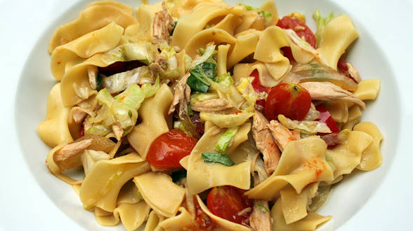 """""""Thai It"""" Chicken Noodles with Lettuce, Chiles and Basil"""
