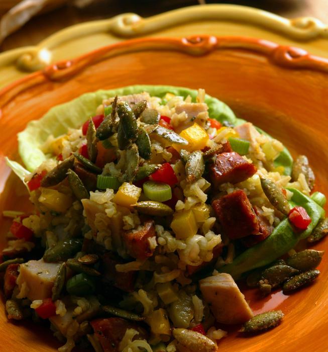 Andouille-turkey salad with spiced pumpkin seeds
