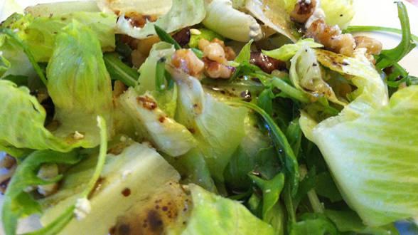 Arugula and Romaine Salad with Walnut and Blue Cheese Vinaigrette
