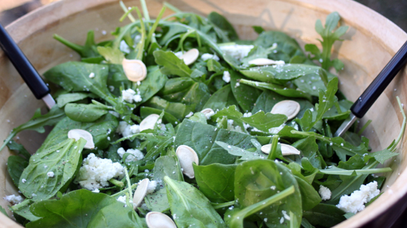 Arugula and Spinach Salad with Goat Cheese and Pepitas