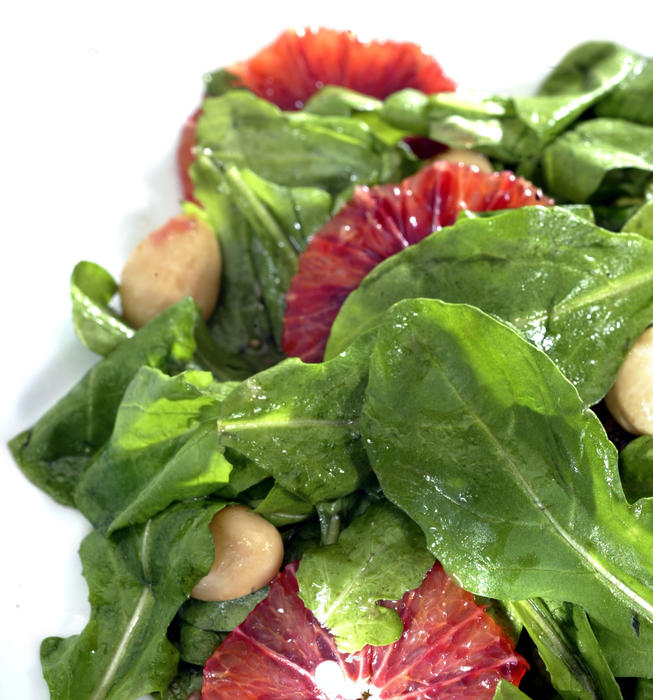 Arugula with blood orange vinaigrette