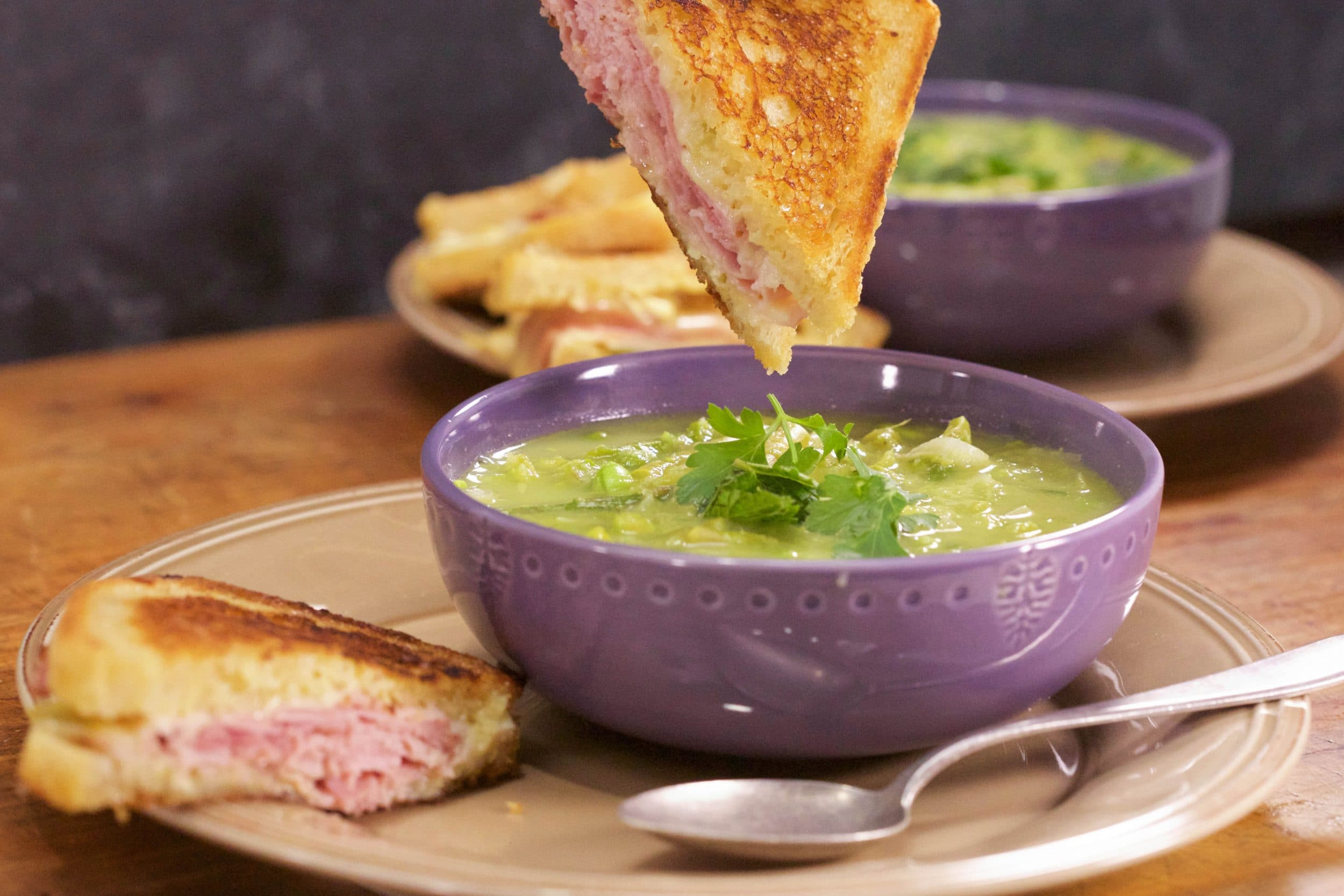 Asparagus and Pea Spring Soup With Grilled Ham 'N Cheese