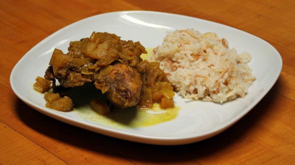 Autumn-Spiced Chicken, Almond Rice Pilaf
