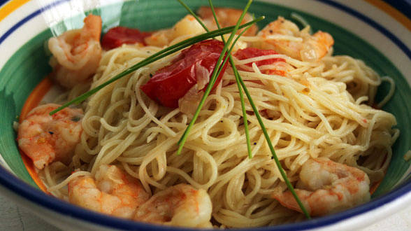 Baby Shrimp Scampi and Angel Hair Pasta