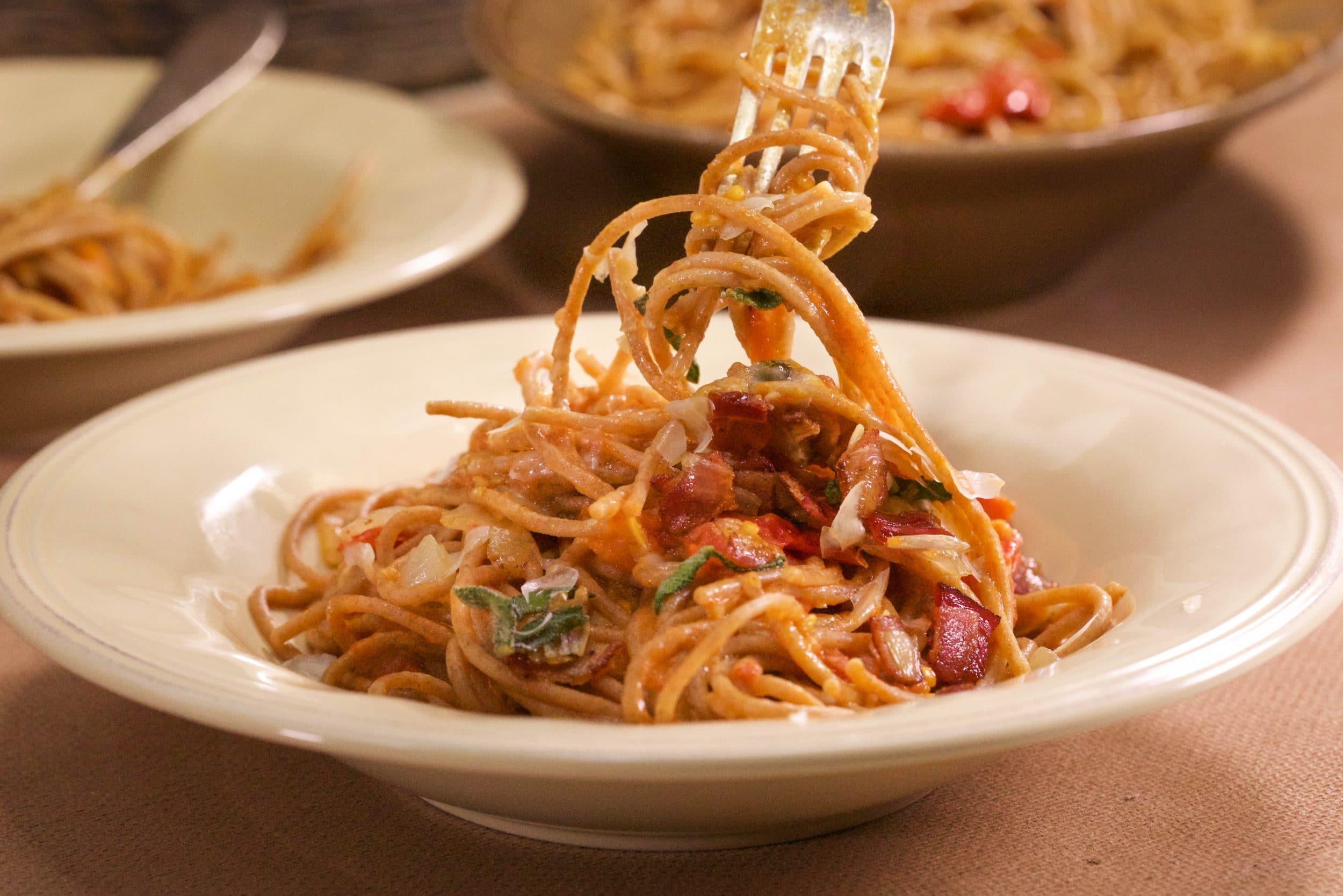Bacon and Bay Tomato Sauce on Brown Spaghetti