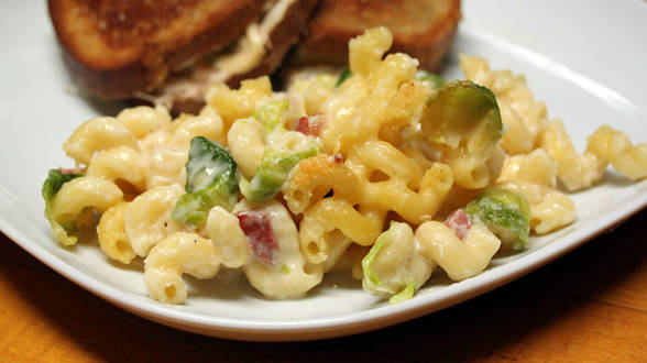 Bacon and Brussels Sprout Mac and Cheese