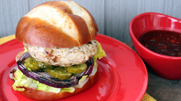 Bacon Bit Turkey Burgers with Peach Barbecue Ketchup
