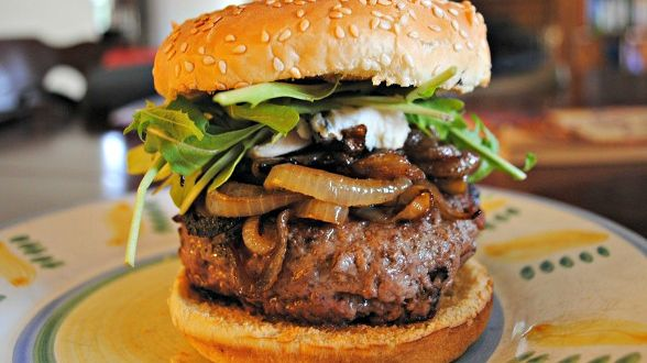 Bacon Burgers with Caramelized Onions and Gorgonzola