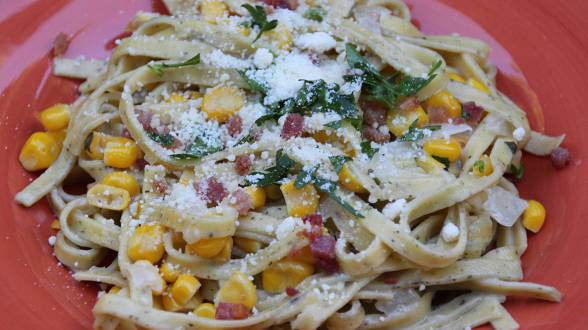 Bacon, Corn and Mascarpone Tagliatelle