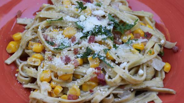 Bacon, Corn and Mascarpone Tagliatelle