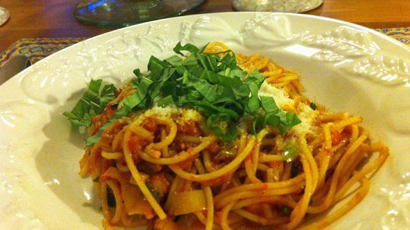 Bacon, Leek and Tomato Spaghetti
