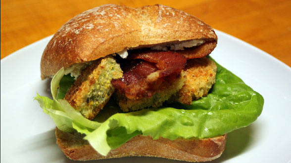 Bacon, Lettuce and Fried Green Tomato Sammies