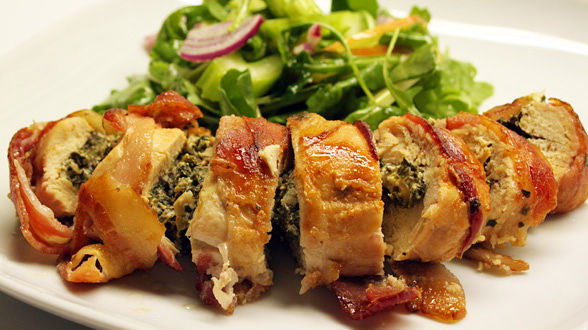 Bacon-Wrapped, Walnut and Spinach-Stuffed Chicken with Apple, Celery and Onion Salad