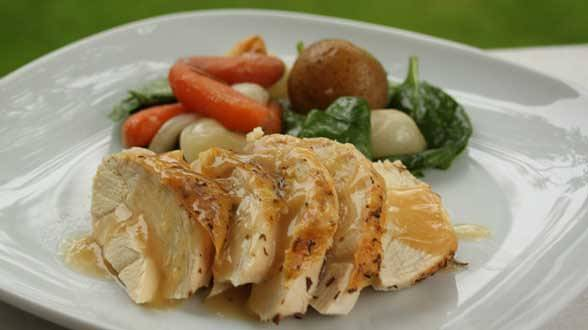 Baked Chicken with Herb Skin and Roasted Garlic Cream Gravy