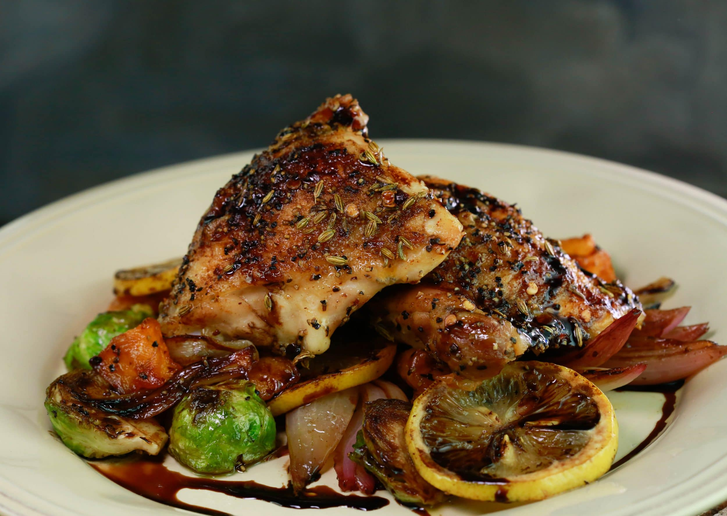 Balsamic Roasted Brussels Sprouts, Butternut Squash and Chicken Thighs