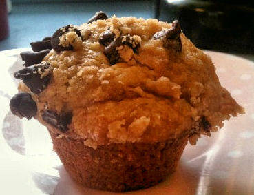 Banana Chocolate Chip Coffee Cake Muffins with Streusel Topping