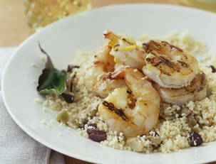 Bay and Lemon Shrimp Skewers with Olive Couscous