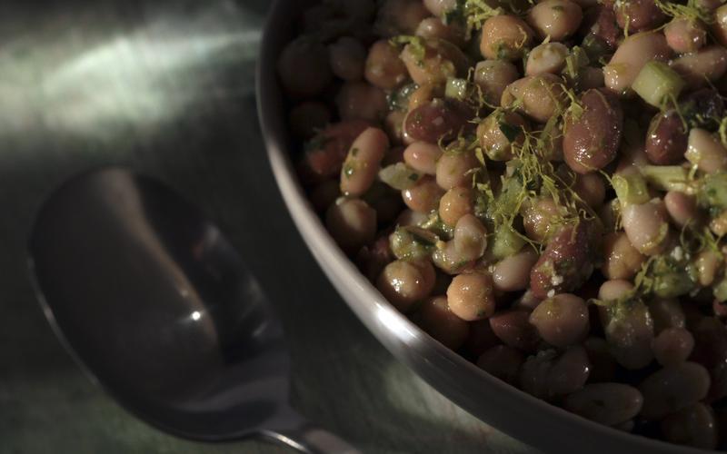 Bean salad with celery leaf pesto