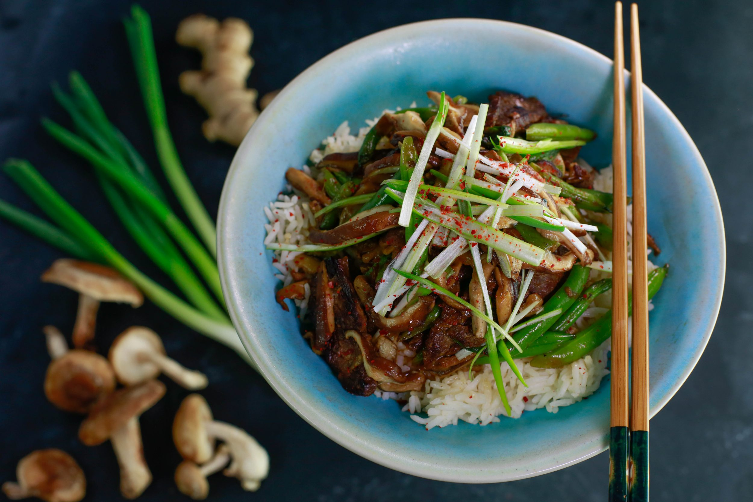 Beef Teriyaki with Green Beans & Green Onions