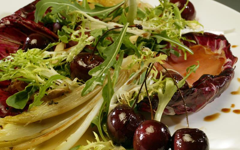 Bing cherries, Serrano ham and grilled chicory