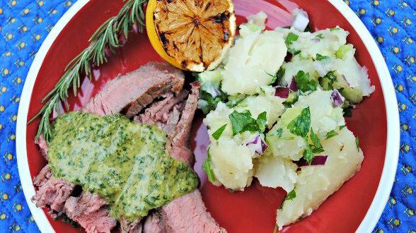 Bistecca Fiorentina with Parsley Sauce for Steak and Warm Potato Salad
