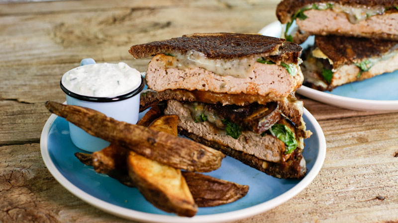 Black and Blue Patty Melts with Oven Fries and Horseradish Dipper
