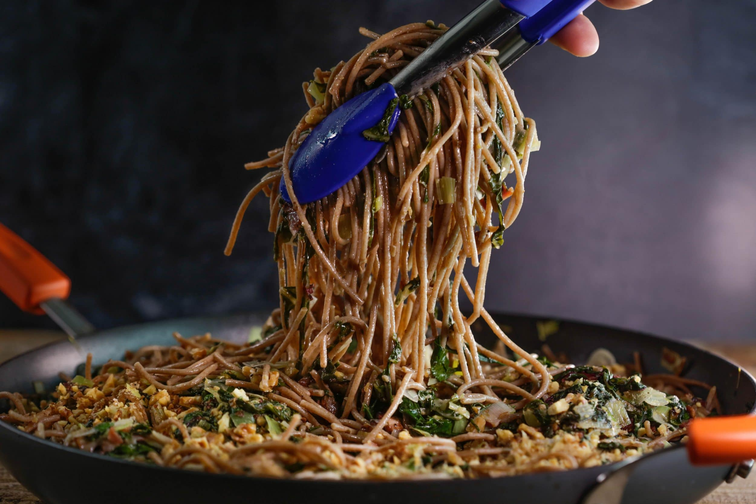 BLC Spaghetti – Bacon, Leek, Chard and Walnuts with Farro Spaghetti