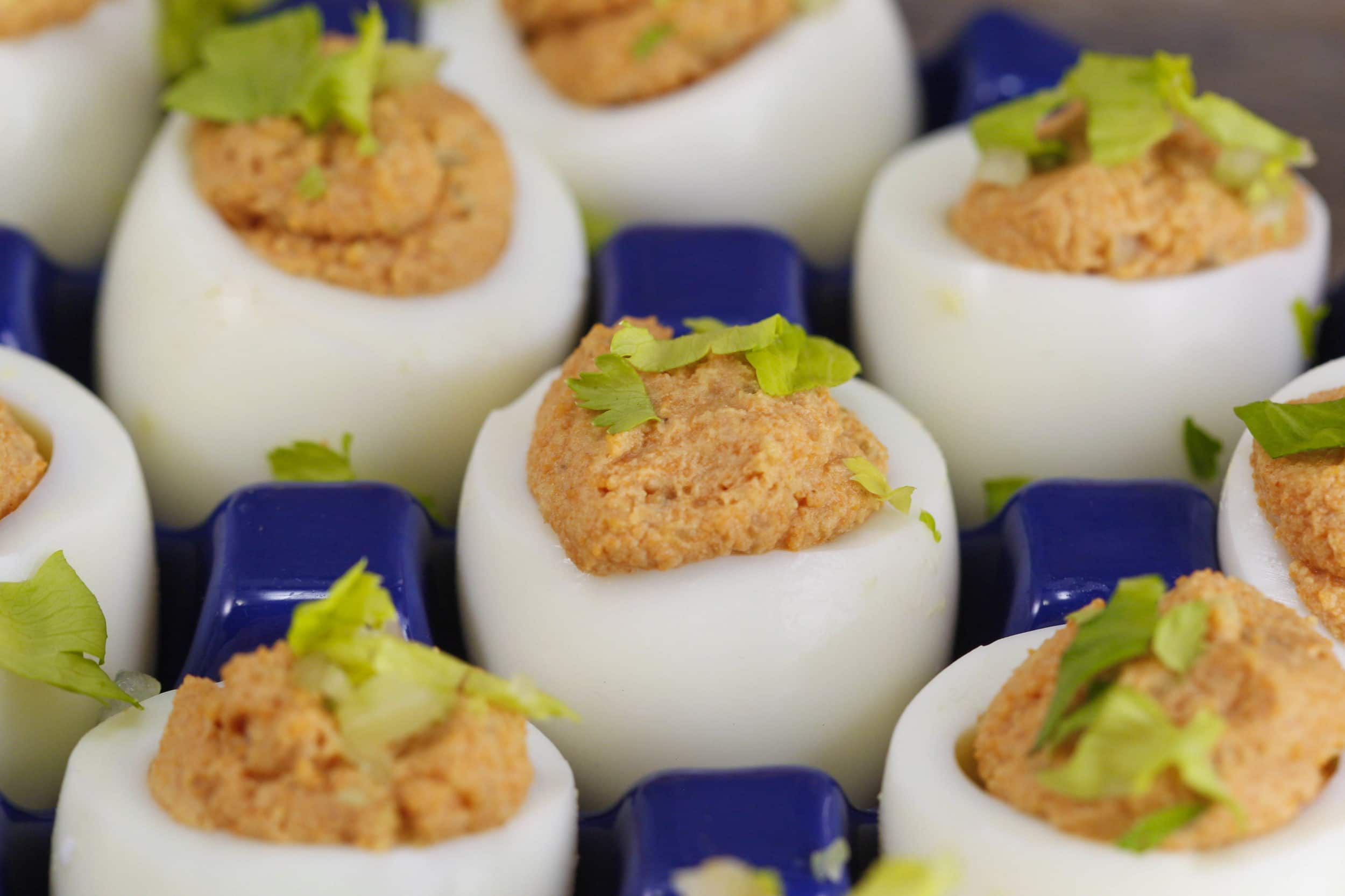 Bloody Mary Tipsy Deviled Eggs