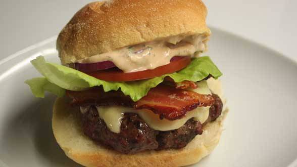BLT Burgers with Swiss and Russian-Style Aioli with Garlic and Herbs