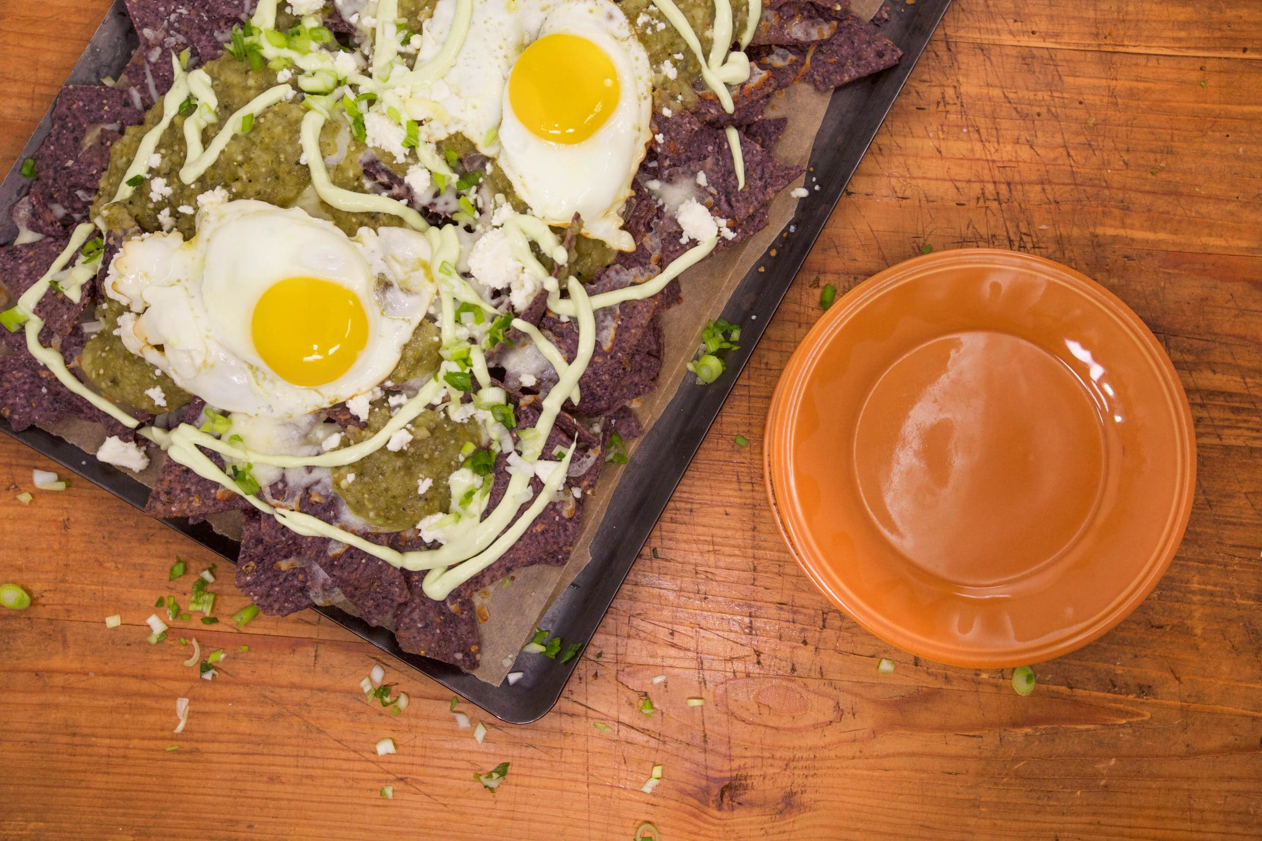 Blue Chilaquiles Verde with Eggs