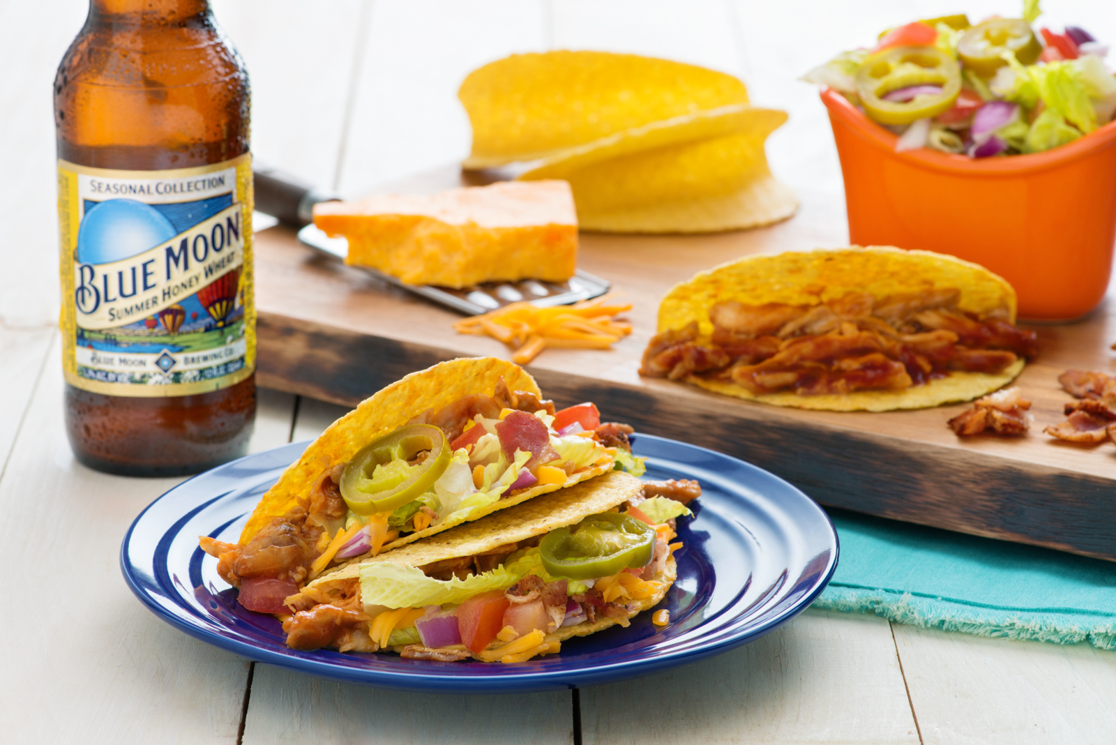 Blue Moon Beer-Brined Smoked BBQ Chicken Hard Shell Taco with the Works