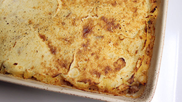 Bolognese Shepherd's Pie with Roasted Garlic Potatoes