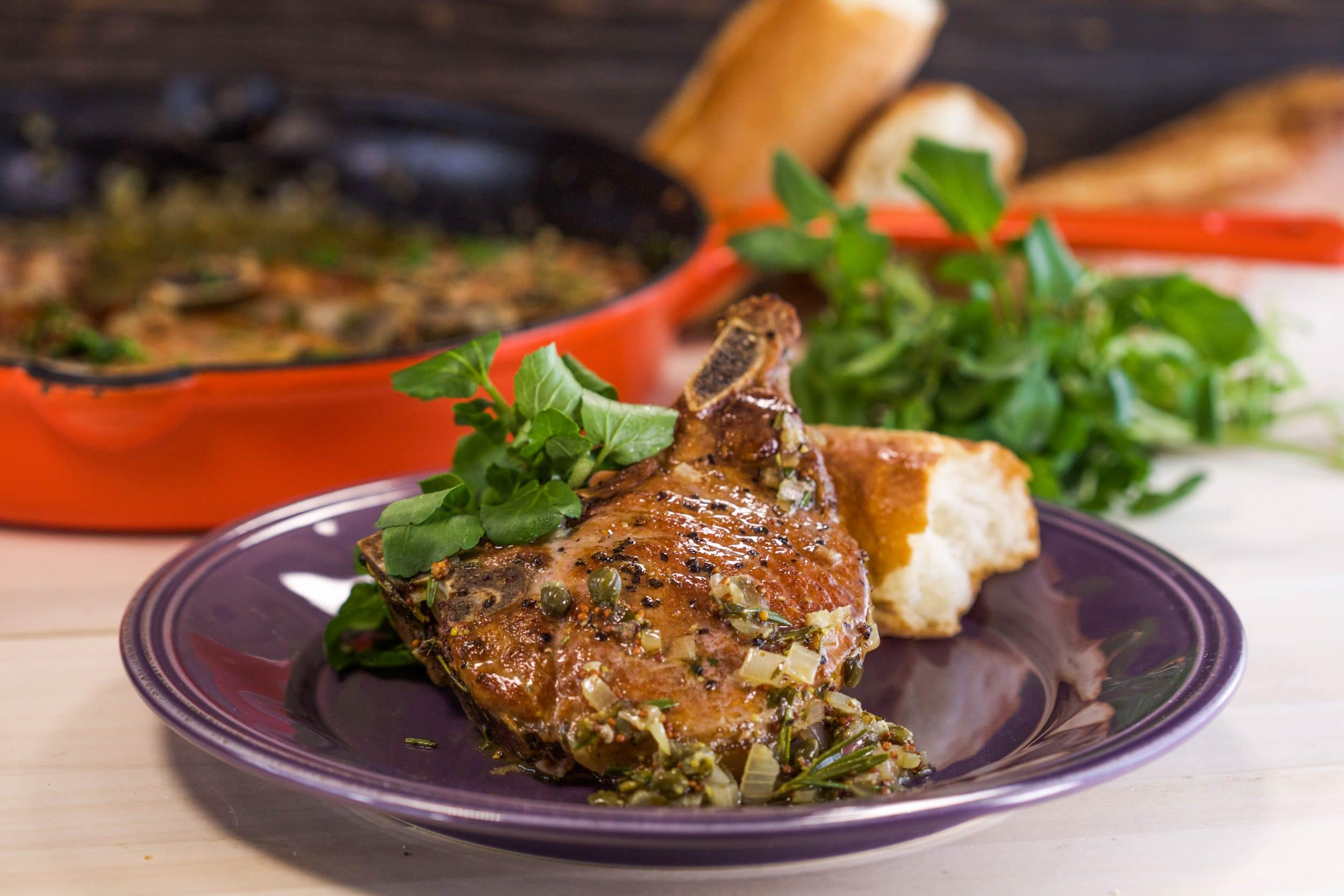 Bone-in Pork Chops with Shallots, Mustard sauce and Watercress