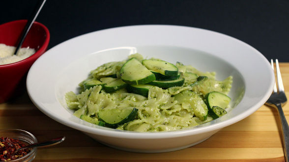 Bow Ties with Zucchini and Hot Chili Pepper Pesto