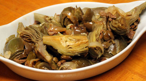 Braised Artichokes and Olives