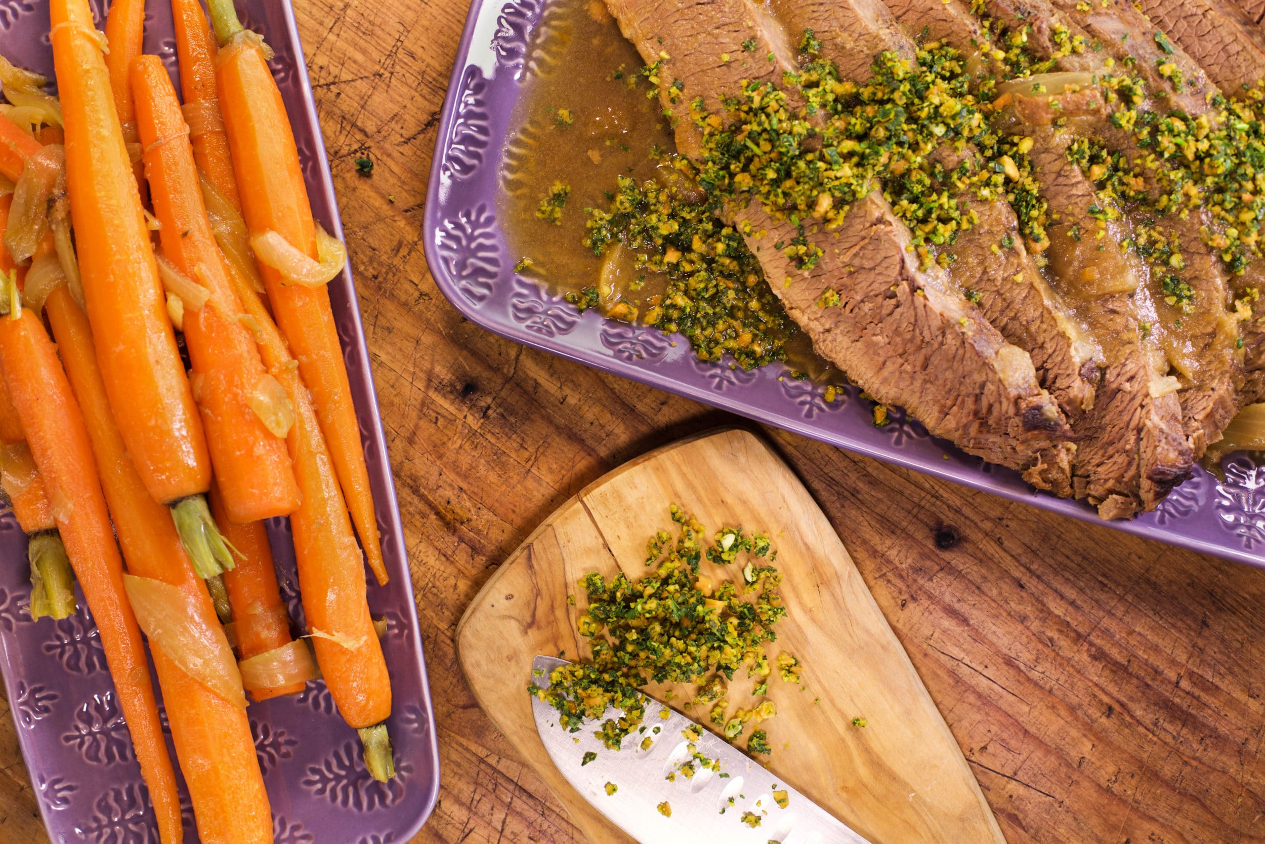 Braised Brisket with Almond Gremolata