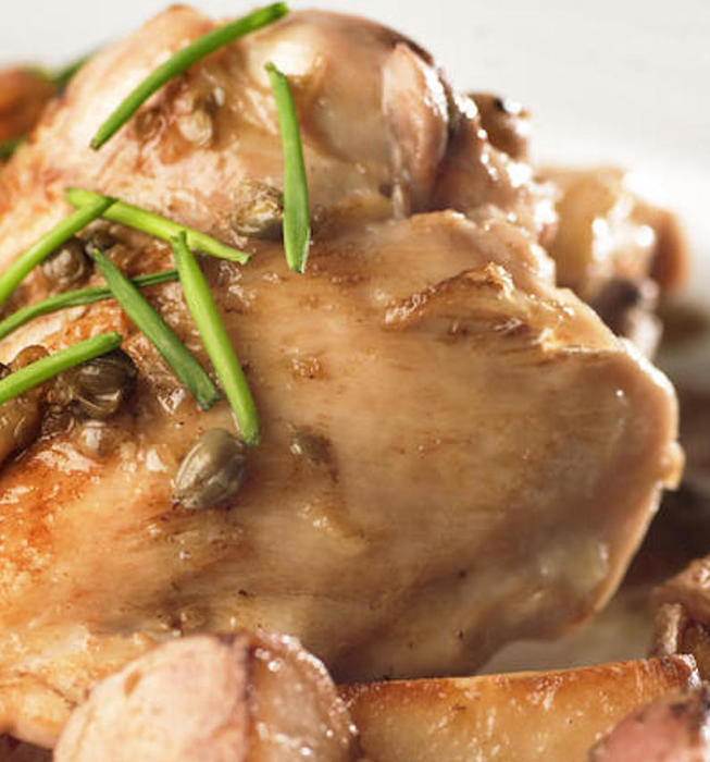 Braised chicken with capers