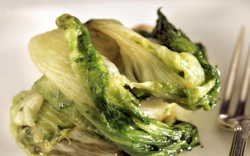 Braised escarole with colatura sauce