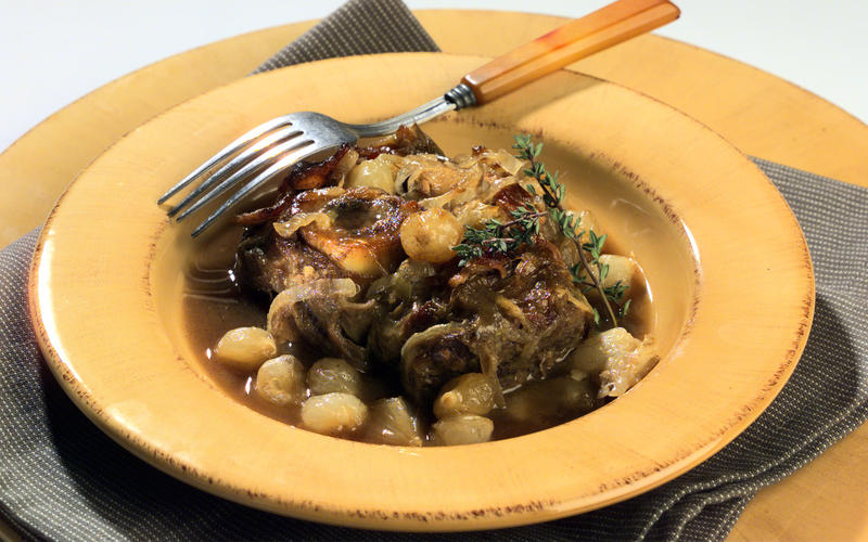Braised Veal Shanks in Smothered Onions