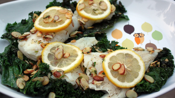 Branzino with Brown Butter and Almonds on a Bed of Crispy Kale