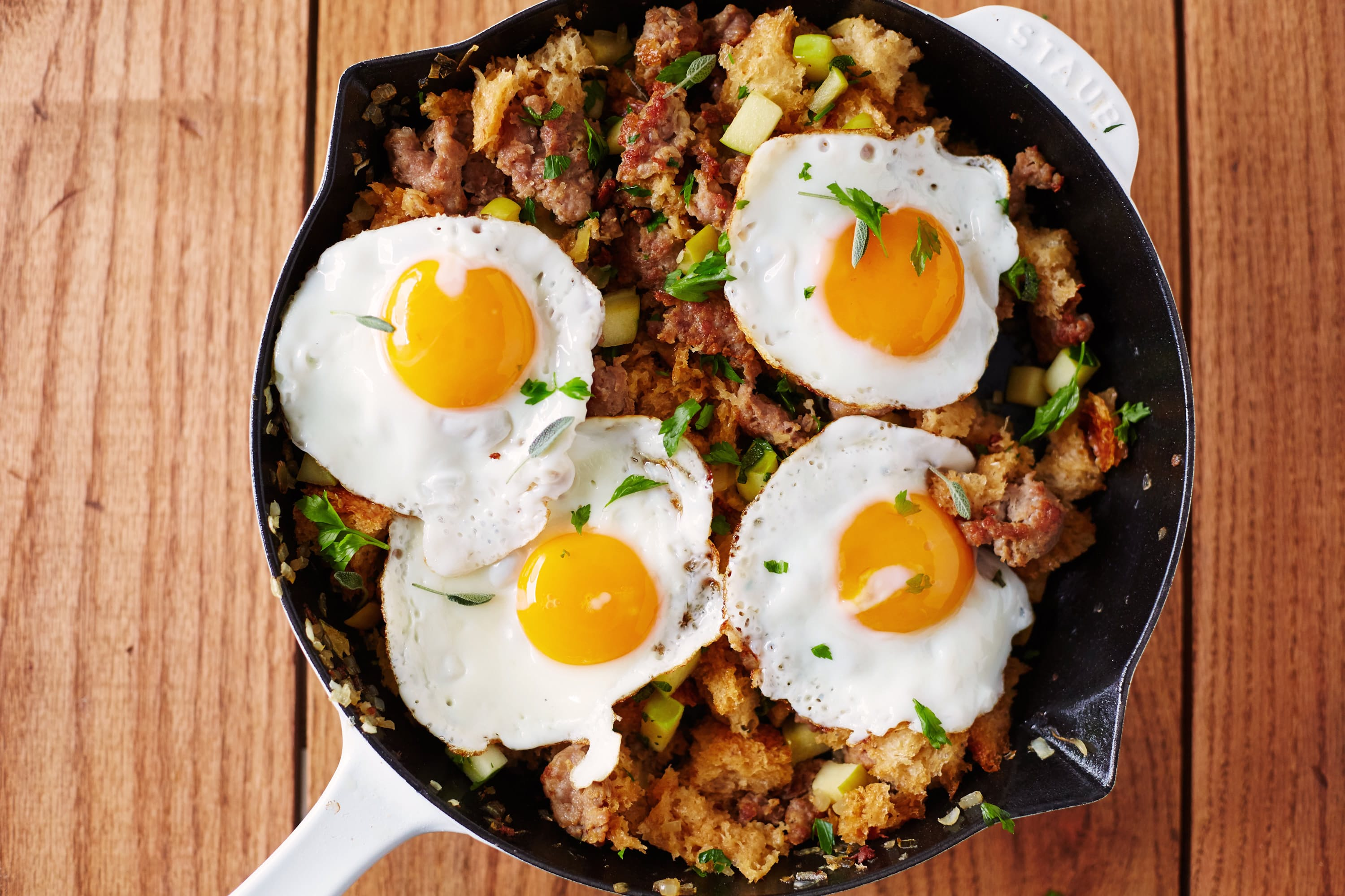 Bread, Sausage, and Apple Hash