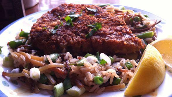 Breaded Pork Chops and Spring Vegetable Pilaf