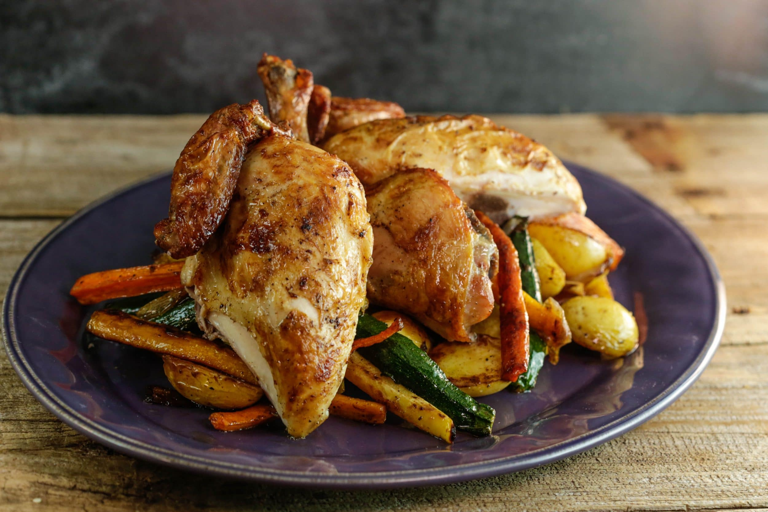 Brined Roasted Chicken and Vegetables