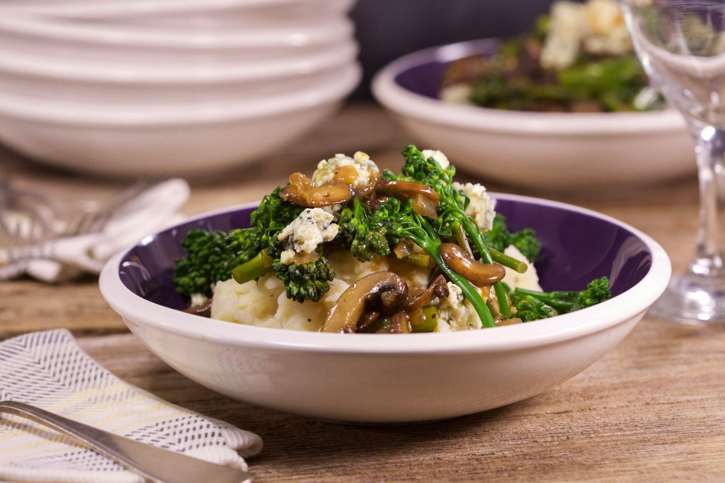 Broccoli and Blue on Horseradish Mashed Potatoes