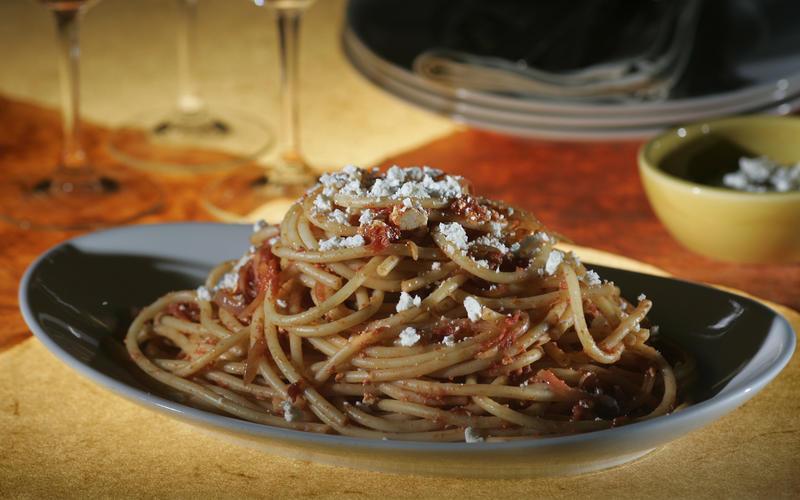 Bucatini amatriciana with ricotta salata