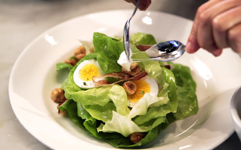 Butter lettuce with hazelnuts, bacon, Gorgonzola dolce, egg and sherry vinaigrette