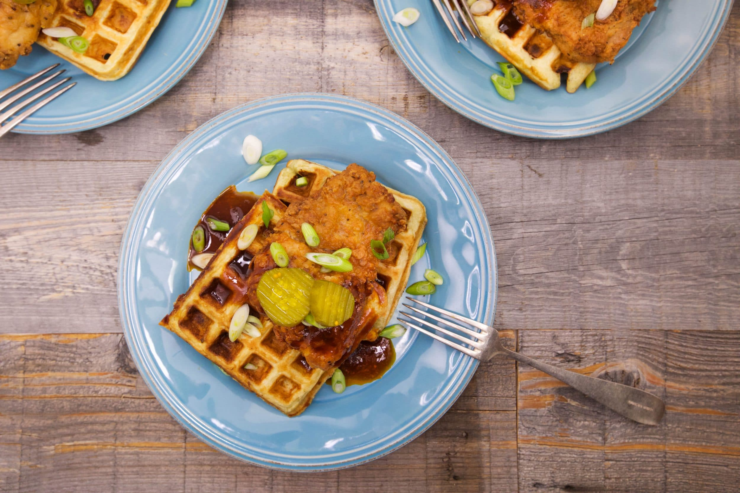 Buttermilk-and-Blue Waffles with Buffalo Whiskey Crispy Chicken